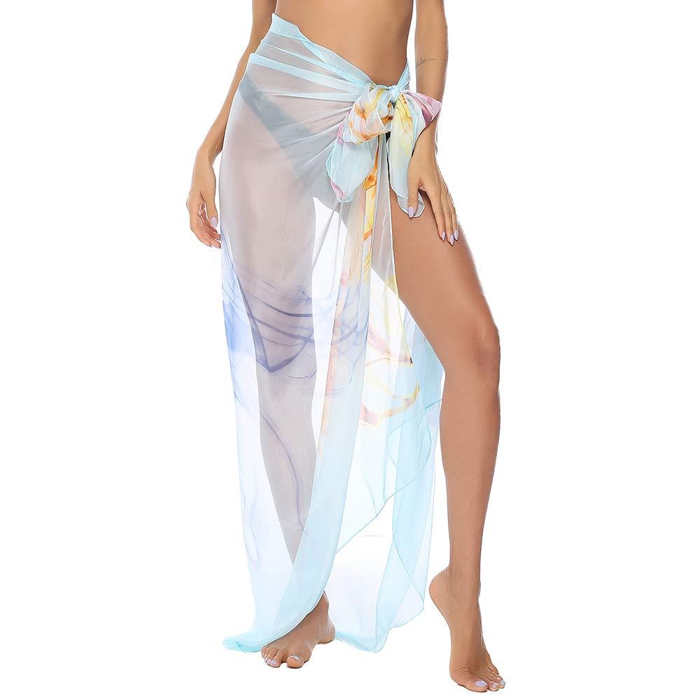 Women Chiffon Beach Bikini Cover Up Wrap Scarf Swimwear Pareo Sarong Dress UK