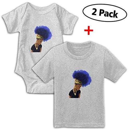 Cotton Fish Organic Tee - Cool Flower Hair Africa Women Unisex Baby Short-Sleeve Bodysuit & Baby T-Shirt Set 100% Organic Cotton