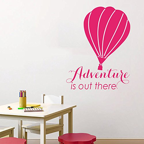 N.SunForest Air Balloon Wall Decal Quote Adventure is Out Th