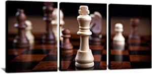 """3 Piece Chess Canvas Wall Art Vintage Game Picture Poster Contemporary Wall Decor for Chess Club Rest Room Living Room Reception Room Bedroom 12""""x16""""x3PCS"""