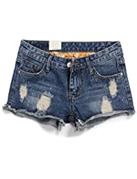 Women Short Jeans Retro Hole Burr Loose Large Size Women Shorts Fenim Low Waist Shorts