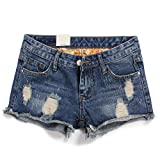 Weigou Women Short Jeans Retro Hole Burr Loose Large Size Women Shorts Fenim Low Waist Shorts (M(Size 28), Blue)