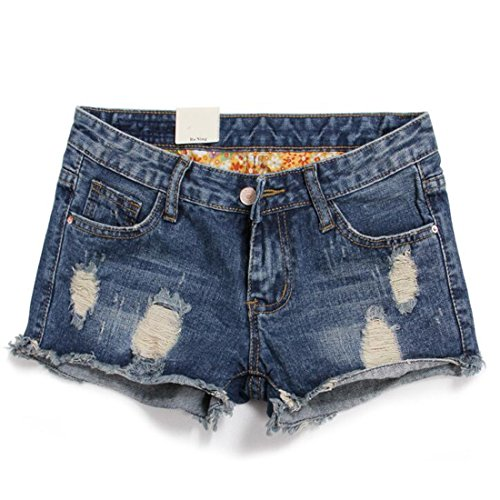 Weigou Women Denim Shorts Retro Hole Short Jeans Junior Vintage Fringe Mini Jeans (XL(Size 32), Blue)