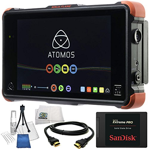 "Atomos Ninja Flame 7"" 4K HDMI Recording Monitor 14PC Accessory Kit. Includes SanDisk 240GB Extreme Pro Solid State Drive, HDMI Cable, Deluxe Camera Starter Kit, Microfiber Cleaning Cloth from SSE"