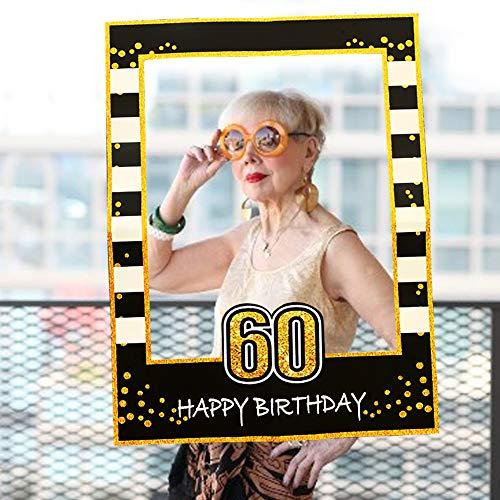 LaVenty Black Gold 60th Birthday Party Photo Booth Props 60th Birthday Photo Frame Birthday Photo ()