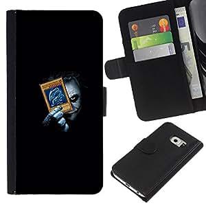 KLONGSHOP // Tirón de la caja Cartera de cuero con ranuras para tarjetas - Divertido Joker Playing empuje Tarjetas - Samsung Galaxy S6 EDGE //