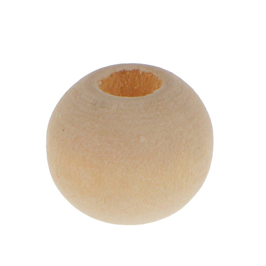 Baoblaze 100pcs Holzperlen Gro/ßloch Spacer Bead F/ür Schmuck Machen Charme