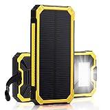 Externe Akku,15000mAh Dual USB Außen Tragbare Solar Ladegerät mit LED , schön Power Bank für iPhone,HTC und andere Smartphone (Gelb)