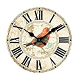 12 Inch Silent Wooden Wall Clock Pretty Bird Picture Home Decoration French Country MDF Wooden Clock Painted Retro Style for Home Living Room Office (12inch)