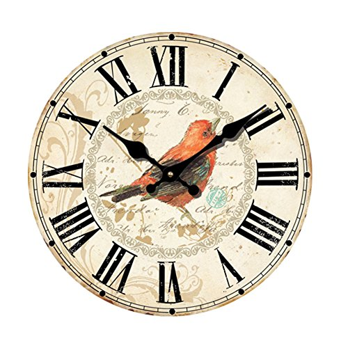 (12 Inch Silent Wooden Wall Clock Pretty Bird Picture Home Decoration French Country MDF Wooden Clock Painted Retro Style for Home Living Room Office (12inch))