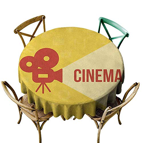 Sunnyhome Waterproof Table Cover Movie Theater Projector Silhouette with Cinema Quote Movie Symbols Background Dark Coral Beige Yellow for Events Party Restaurant Dining Table Cover 70 INCH -