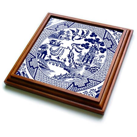 3dRose trv_262242_1 Willow Pattern Detail in Blue and White Trivet with Tile, 8 by 8''