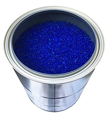5 Pounds of Industry Standard 3-5 mm Large Blue Beaded Indicating Silica Gel Desiccants and Dehumidifier, Air-Tight Can for Storage