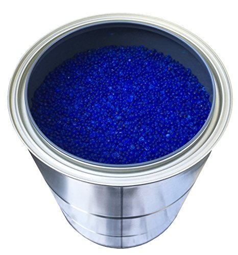 5 Pounds of Industry Standard 3-5 mm Large Blue Beaded Indicating Silica Gel Desiccants and Dehumidifier, Air-Tight Can for Storage - RECHARGEABLE (Canister Beaded)