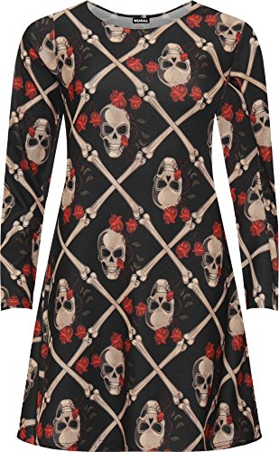WearAll Women's Plus Skull Print Halloween Fancy Costume Long Sleeve Swing Dress - Black - US 22-24 (UK 26-28)