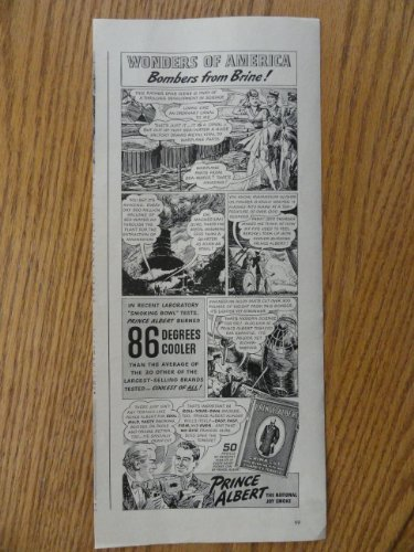 - Prince Albert Pipe Tobacco, 1941 illustration, print ad. (Wonderes of America/Bombers from Brine!)Original 1941 Life Magazine Print Art.