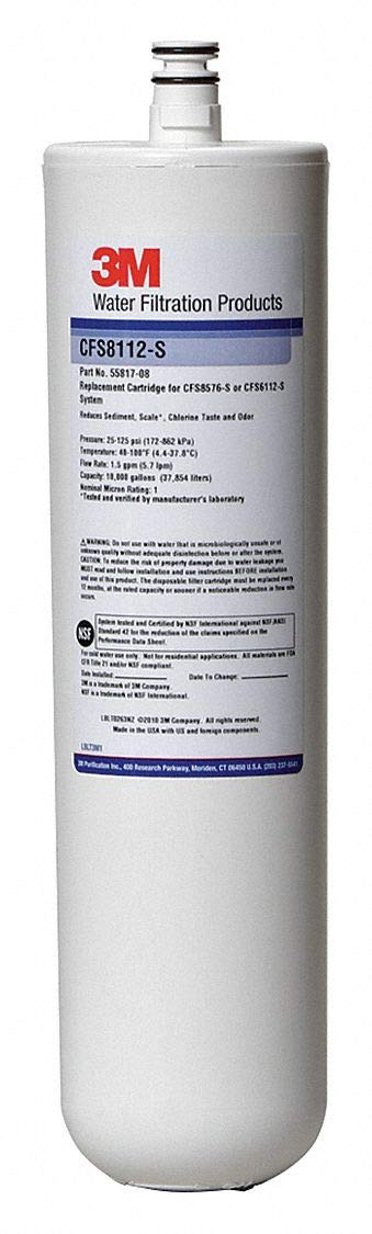 3M Water Filtration Products 1.50 gpm Replacement Filter Cartridge, Fits Brand: Cuno, 1 Micron Rating