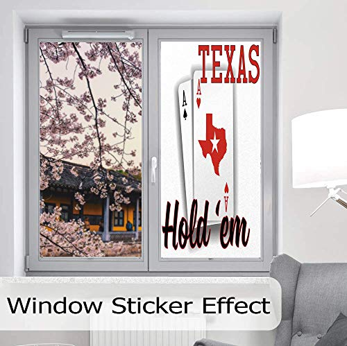 YOLIYANA The Visual Effect of Textured Glass and Stained Glass,Poker Tournament Decorations,is Good for Long Year Under The Sunshine,Texas Holdem Theme Pair of Aces with Map,24''x48'' ()