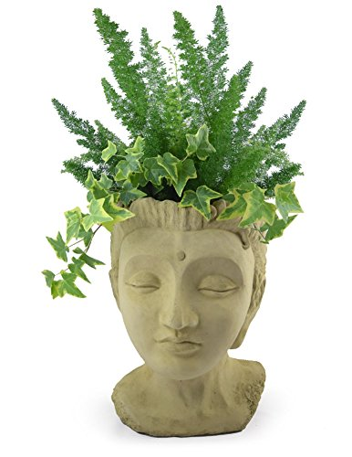 Modern Artisans Maharani Princess Outdoor Head Planter, 17-Inch Fine Concrete