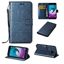 SZYT Phone case for Samsung Galaxy J3 / J320 / Amp Prime / Express Prime, Emboss Elephant Pattern Wallet Function Phone Cover with Handle Strap and Card Slot, Blue