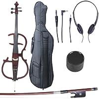 Cecilio CECO-2DW Ebony Fitted Silent Electric Cello, Style 2, Metallic Mahogany, 4/4 (Full Size)