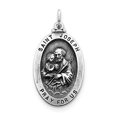 Sterling Silver Solid Satin Engravable Antique finish St. Joseph Medal Charm (Antique Medal Sterling Silver)