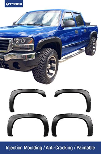 Tyger Auto TG-FF8C4058 For 99-06 Chevy Silverado Pickup Truck, Matte Black Pocket Bolt-Riveted Style Fender Flare Set, 4 Piece (Chevy 99 Truck compare prices)