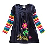 VIKITA Kid Girls Cotton Embroidery Rainbow Long Sleeve Flower Dress 1-8 Years LH5802LONG 5T