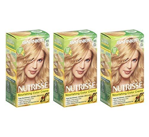Garnier Nutrisse Permanent Hair Color Non-Drip Formula   Light Golden Blonde Number 93   3-Pack