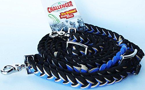 Challenger Horse Roping Knotted Tack Western Barrel Reins Rein Nylon Braided BlueTan 607191