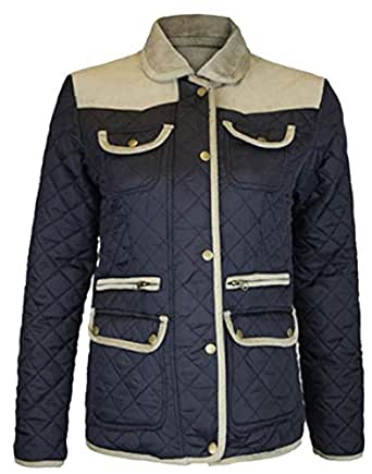 Womens Padded Winter Jackets Ribbed Elbow Patch Quilted