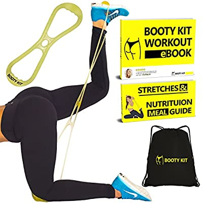 Booty Kit Belt Resistance Training Band Workout System- Targeted Program to Build, Tone & Sculpt a Brazilian Butt Lift. Strong Band works Glutes & Gets Results- Workout Guide & Gym Bag.