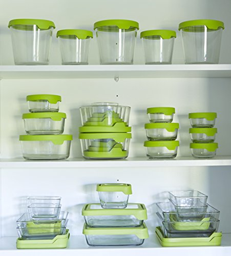 Anchor Hocking TrueSeal 1-Cup Glass Food Storage Container with Airtight Lid, Green