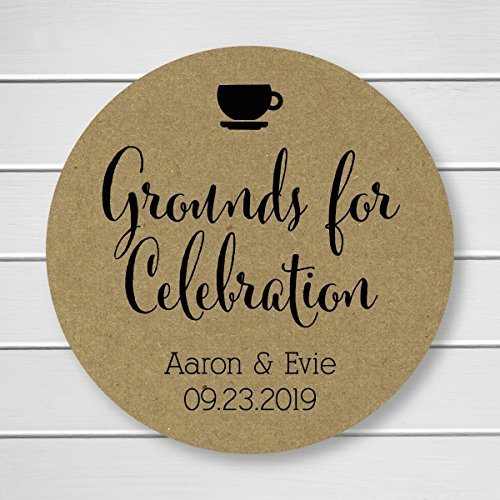 - Grounds for Celebration Kraft Coffee Tea Wedding Favor Stickers (#092-KR)