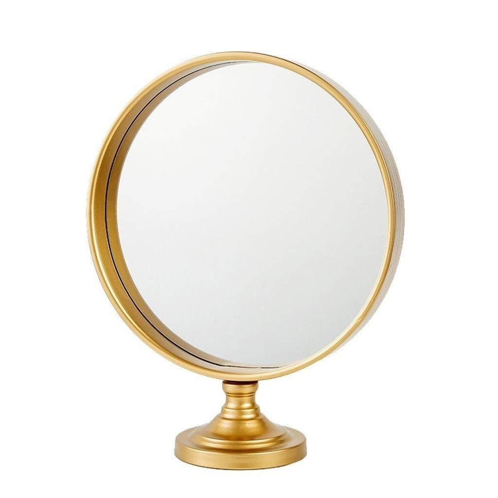 Selm カウンタートップ化粧鏡、片面鏡化粧鏡シンプルでモダンなラウンドベッドルームに最適 (Color : Gold) B07TK6DGZY Gold
