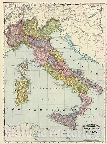 Historic Map | 1897 Italy. | Vintage Wall Art | 33in x 44in