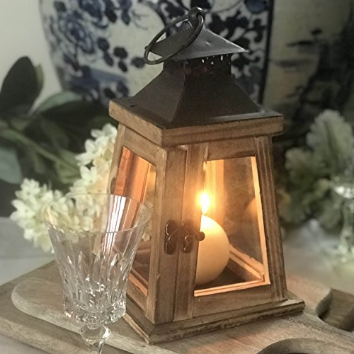 Whole House Worlds The Architectural Tribeca Trap Candle Lantern, For Tea Light And Votive Candles, Distressed Sustainable Wood and Metal, Brass Swing Latch, Gray Galvanized Roof, 9 ¾ Inches Tall, By