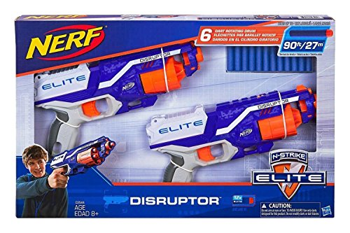 Nerf N Strike Elite Disruptor 6 Dart Rapid Fire Nerf Gun Blaster Shoots 90 Ft   Twin Pack
