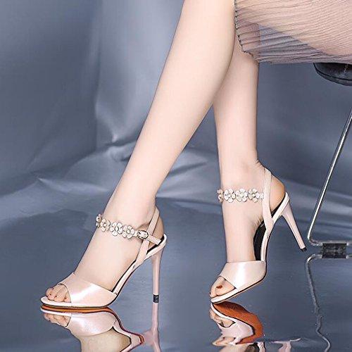 CN36 dimensioni femminili UK4 tacco Scarpe aperti alti col Tacchi Colore alto con neri sandali MUMA con tacco Bianca EU36 sexy Rosa HABa7xwq