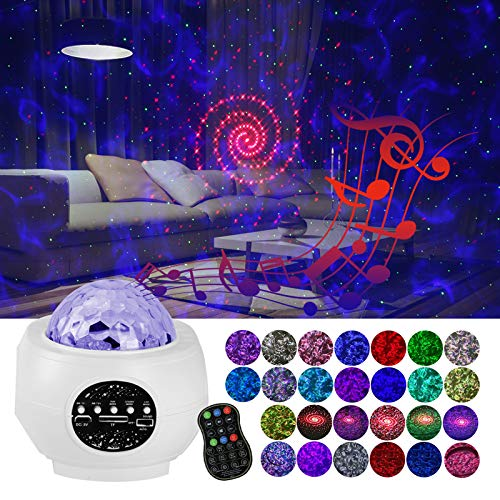 MPRINCE LED Star Projector Night Light, 26 Colors Light Projector with Remote Control & Music Speaker,Suitable for Baby Kids Adult Bedroom/Game Room/Party/Home Theatre (White)