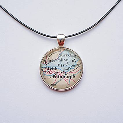 Amazon Com Atlas Pendant Edinburgh Vintage Map Scotland Necklace