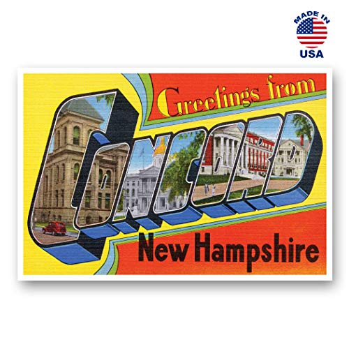 GREETINGS FROM CONCORD, NH vintage reprint postcard set of 20 identical postcards. Large Letter Concord, New Hampshire city name post card pack (ca. 1930's-1940's). Made in USA.