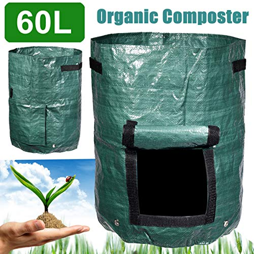 AloPW Yard Waste Bags Garden Composter Bin Grow Bag 60L Eco Friendly Organic Compost Storage Bag Green Waste Converter Tools Yard Garden Supplies