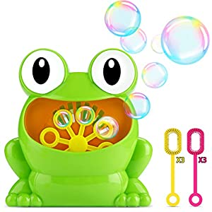 Fansteck Bubble Machine for Kids, Frog Bubble Machine Lovely Design Durable Automatic Bubble Maker, High Output over 500 Bubbles per Minute, with Six Extra Manual Bubble Wands, Nontoxic, Easy to Use