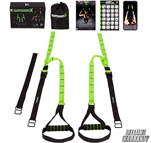 Fitness Kings Suspension X Home Gym System - Bodyweight Resistance Suspension Straps+ Workout Program Fitness Guide & Videos