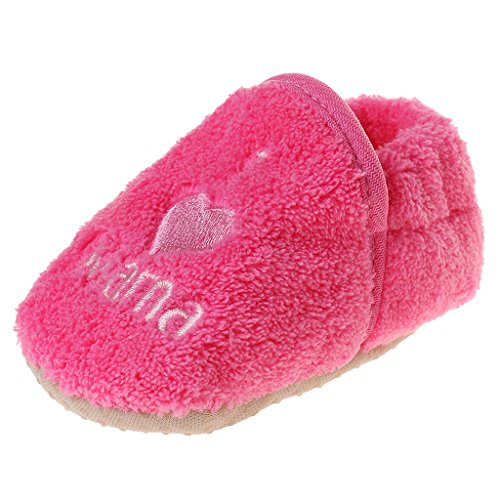 1 Par Zapatos De Niño Bebés Muchachos Botines Coral Polar Del Prewalker - Amarillo Fucsia
