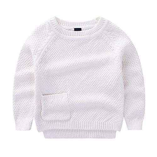 KIMJUN Toddler Baby Boys Girls Pullover Sweater Kids Solid Cable Knit Sweatshirt 90 White