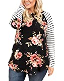 Womens Plus Size Raglan Shirts Long Sleeve Floral Top Striped Tshirt Tunic with Elbow Patch Black
