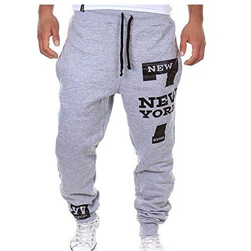 Chen Men's Sports Harem Casual Baggy Hiphop Dance Jogger Long Sweat Pants Trousers (M, Light Grey01)