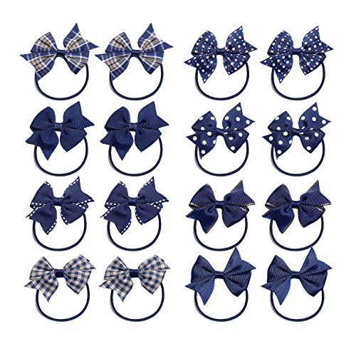 (KOONY Baby Girls Hair Bow Elastic Ties Ponytail Holders Hair Bands 16pc (Navy))